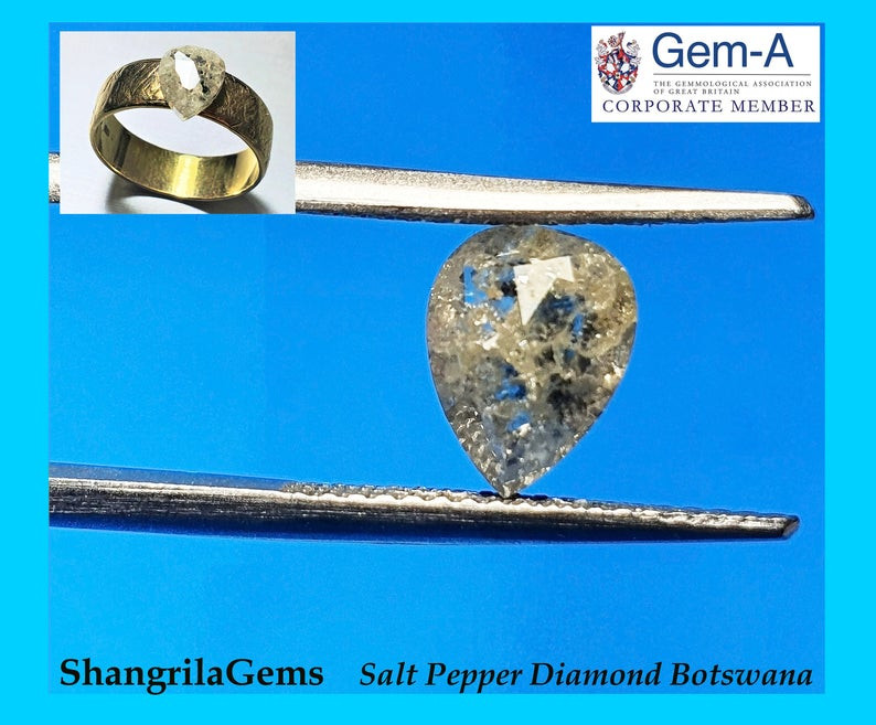 1.28ct 7.5mm Salt and Pepper drop pear Diamond  7.5 by 6 by 3.9mm