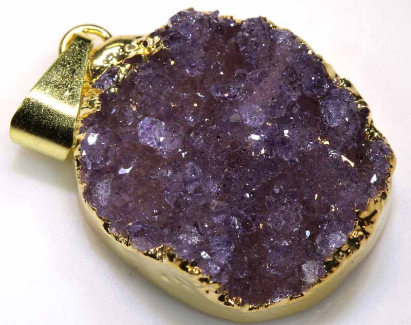 20.20 CTS AMETHYST CRYSTAL GOLD PLATED PENDANT SG-3573