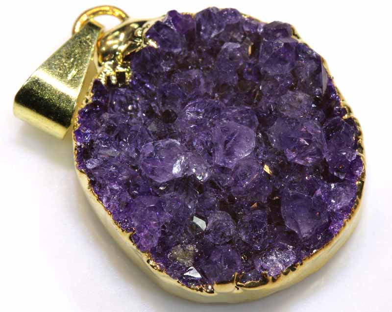 21.35 CTS AMETHYST CRYSTAL GOLD PLATED PENDANT SG-3577