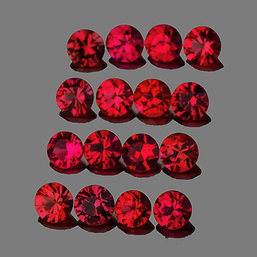 2.50 mm Round 16 pcs 1.23cts Red Spinel [VVS]