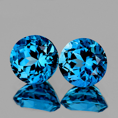 6.00 mm Round 2 pcs 2.26cts London Blue Topaz [VVS]