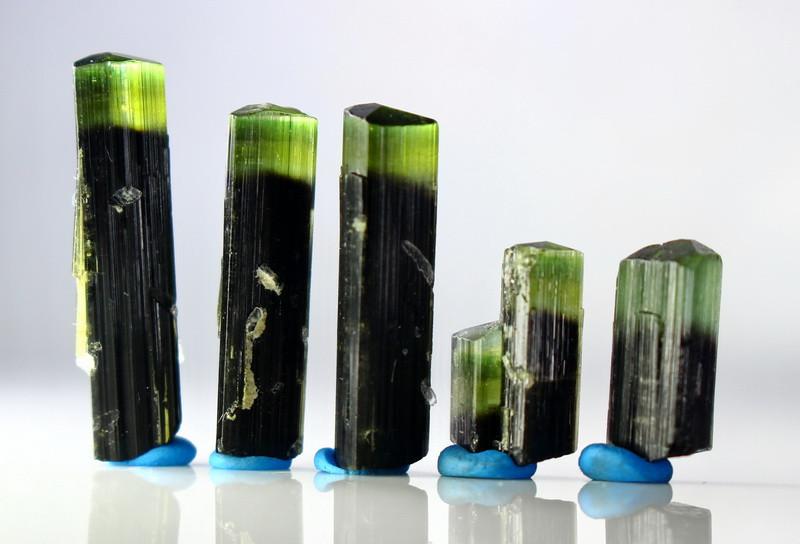 35.30 Cts Unheated & Natural Green Cap Tourmaline Crystal Lot