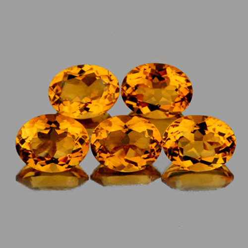8x6 mm Oval 5 pcs 6.08cts Golden Yellow Citrine [VVS]