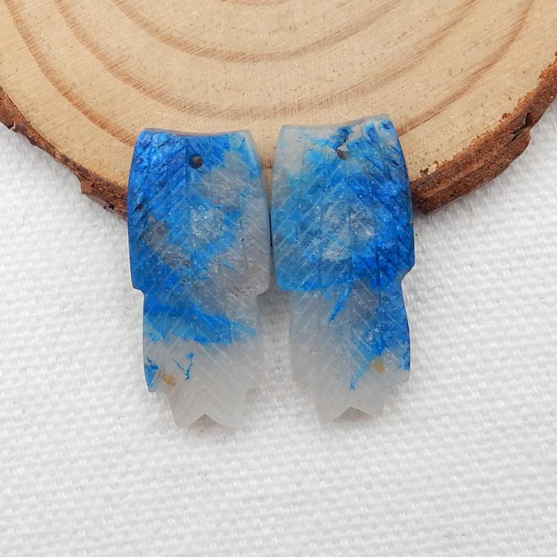 Carved Leaf Earrings,Natural Chrysocolla Handcarved Leaf Earrings G223