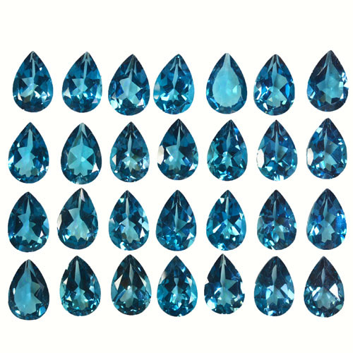 99.60Ct Natural London blue topaz Pear 12 X 8mm Calibrated parcel
