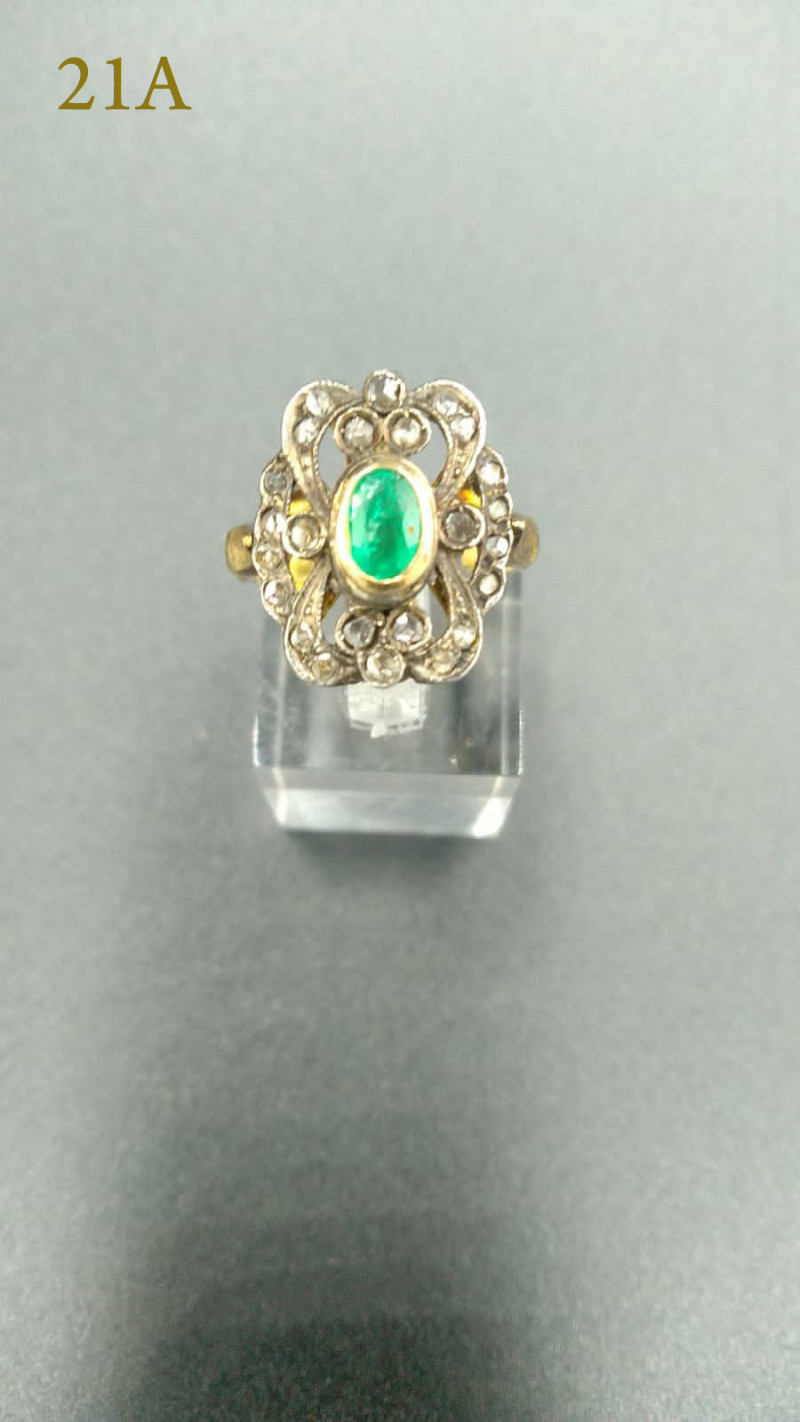 Antique Venetian Emerald Gold Ring