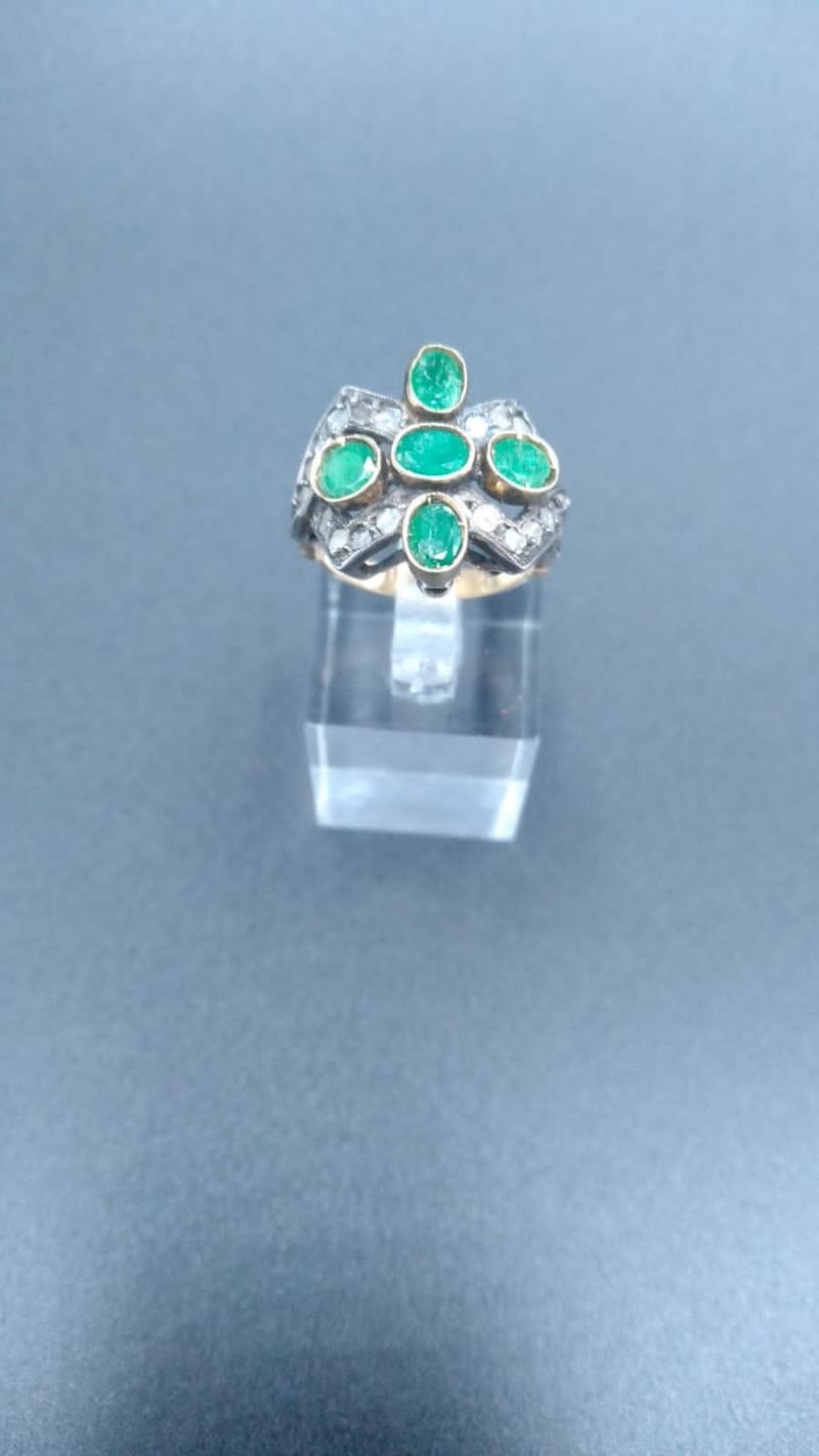 Emerald & Diamond Gold ring 1930