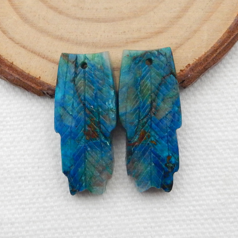 30.5cts Carved Feather Earrings,Natural Chrysocolla Handcarved Feather Earr