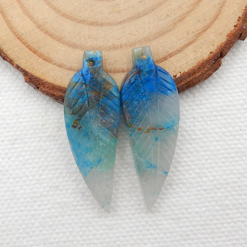 25cts Carved Leaf Earrings,Natural Chrysocolla Handcarved Leaf Earrings G23