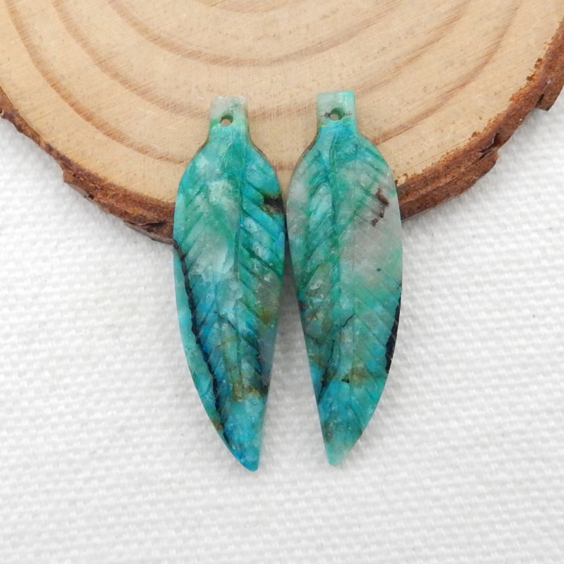 23.5cts Carved Leaf Earrings,Natural Chrysocolla Handcarved Leaf Earrings G
