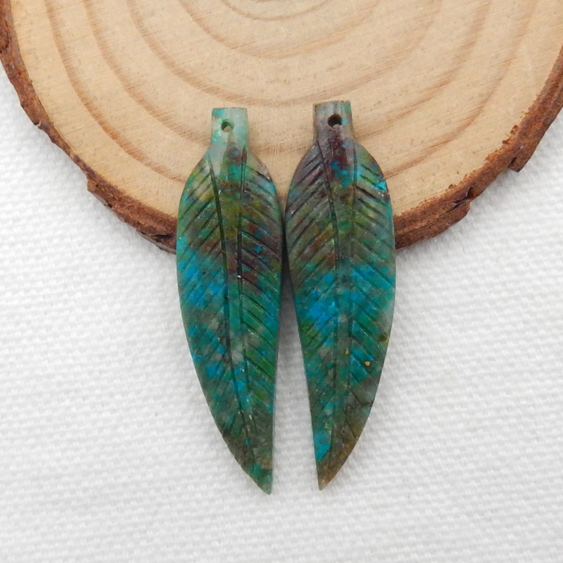 28.5cts Carved Leaf Earrings,Natural Chrysocolla Handcarved Leaf Earrings G