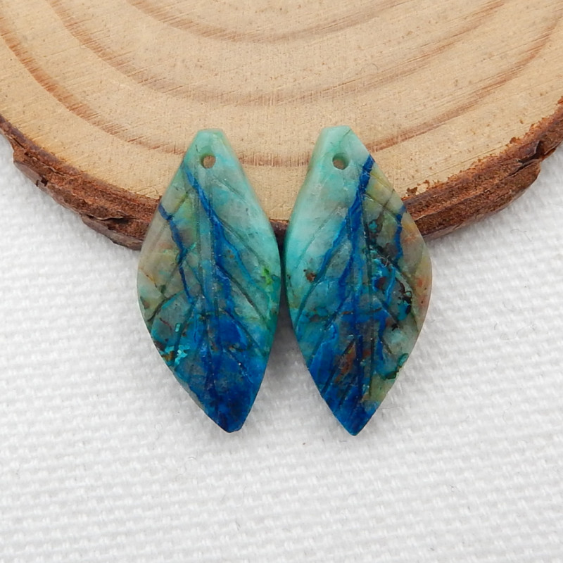 15cts Carved Leaf Earrings,Natural Chrysocolla Handcarved Leaf Earrings G23