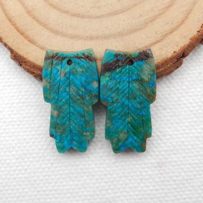 24cts Carved Leaf Earrings,Natural Chrysocolla Handcarved Leaf Earrings G23