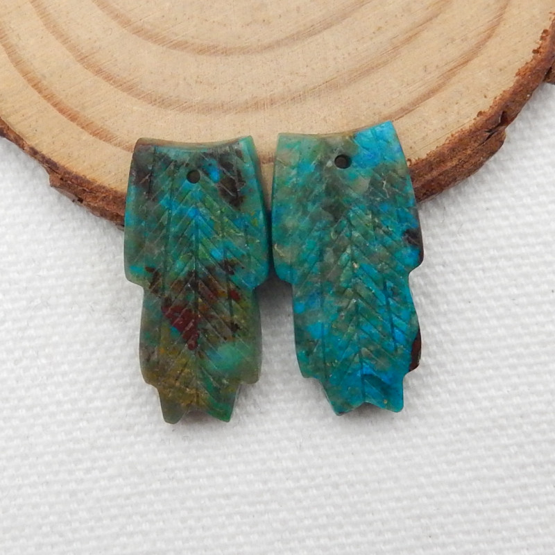 24.5cts Carved Leaf Earrings,Natural Chrysocolla Handcarved Leaf Earrings G