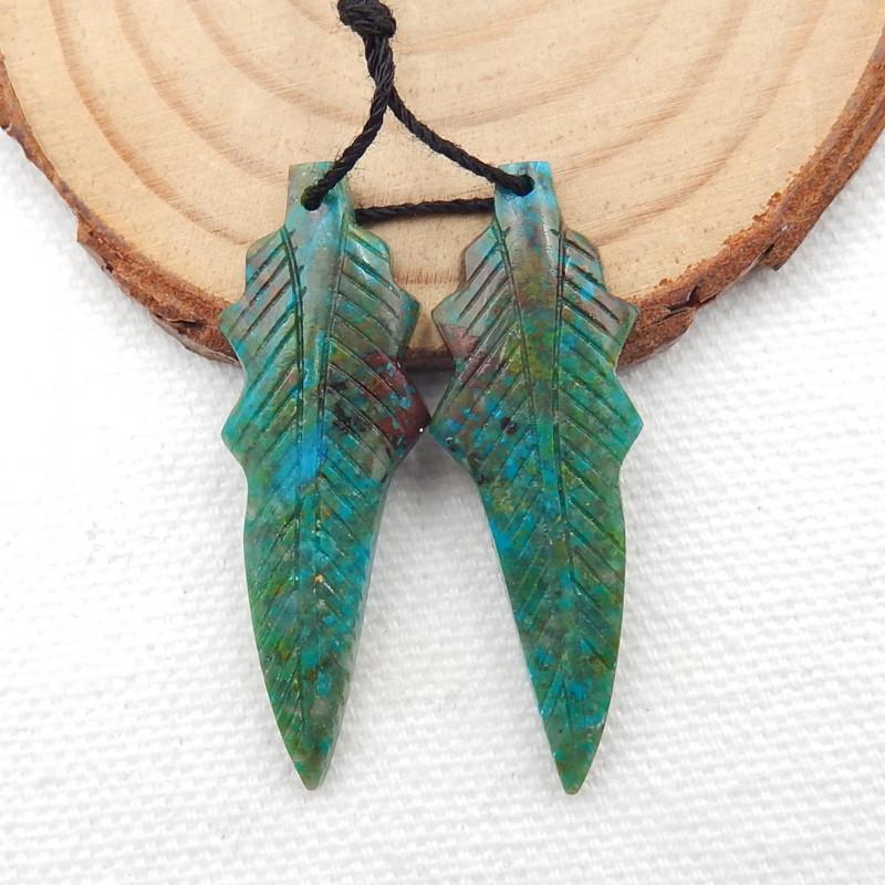Carved Leaf Earrings,Natural Chrysocolla Handcarved Leaf Earrings G238