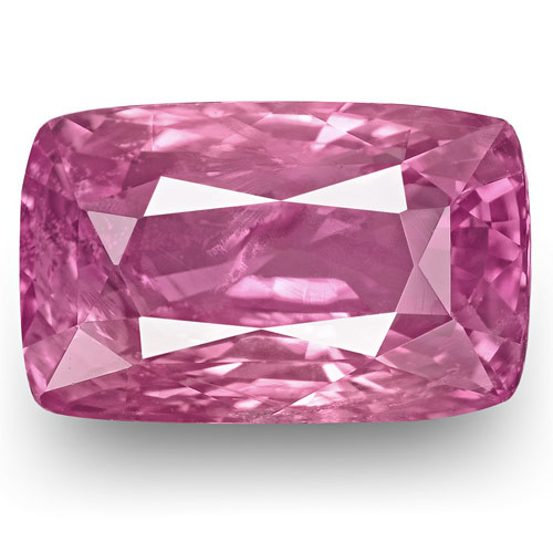GRS Certified Madagascar Pink Sapphire, 5.18 Carats, Vivid Pink Cushion