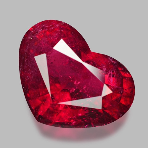 9.51 Cts Un Heated  Cherry Red Color Natural Rubellite  Loose Gemstone