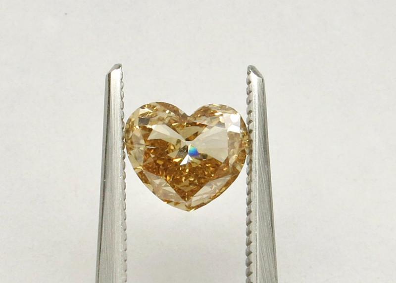 0.93ct Diamond Heart Natural Fancy Yellowish BrownDiamond HRD certified