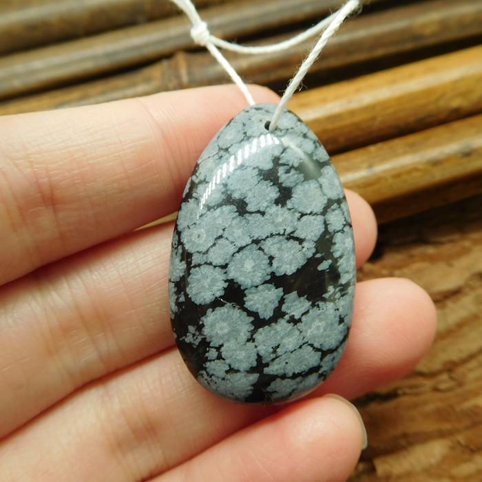 Snow flake obsidian pendant bead (G1986)
