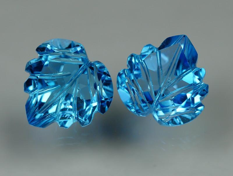 5.865 CRT LOVELY SWISS BLUE TOPAZ CARVING-
