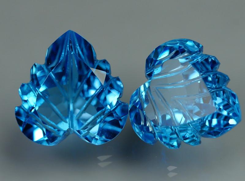 12.325 CRT LOVELY SWISS BLUE TOPAZ CARVING-