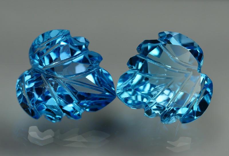 11.085 CRT LOVELY SWISS BLUE TOPAZ CARVING-