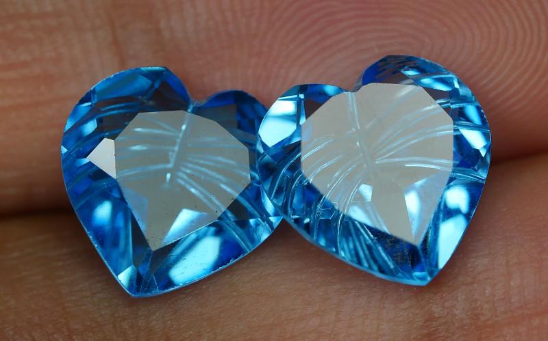 8.180 CRT LOVELY SWISS BLUE TOPAZ CARVING-