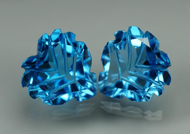10.175 CRT LOVELY SWISS BLUE TOPAZ CARVING-