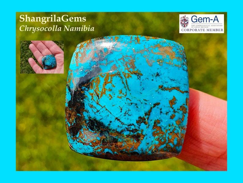 29mm 47ct Azurite Chrysocolla cuprite Namibia cushion square cabochon
