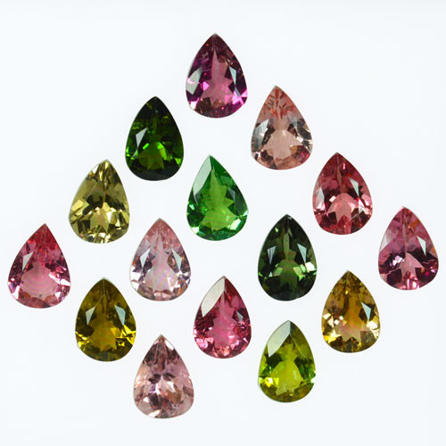 8.88 Cts Natural Fancy Color Tourmaline 7x5mm Pear 15Pcs Mozambique