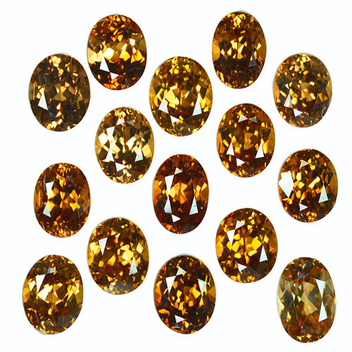 42.35 Cts Natural Sparkling Orangish Brown Zircon 15Pcs Oval Cut Tanzania