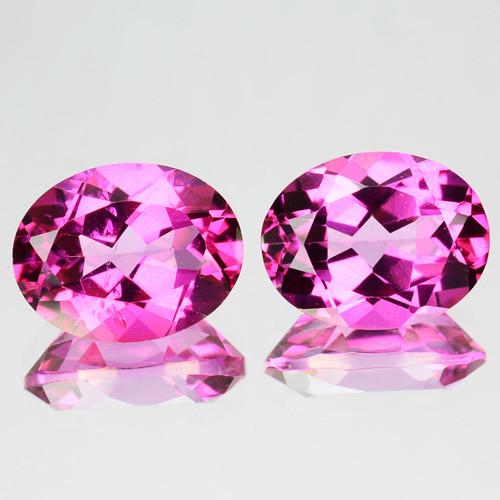 ~PAIR~ 5.92 Cts Candy Pink Natural Topaz 10x8mm Oval Cut 2 Pcs Brazil