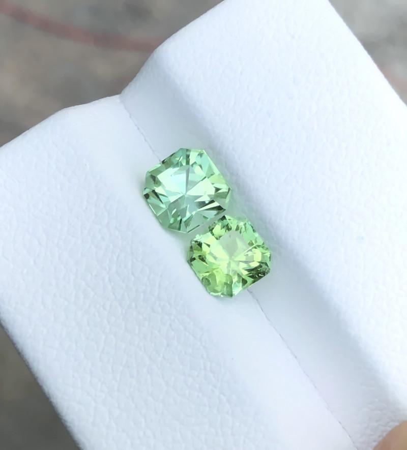 1.85 Ct Natural Green Transparent Tourmaline Gems Pairs