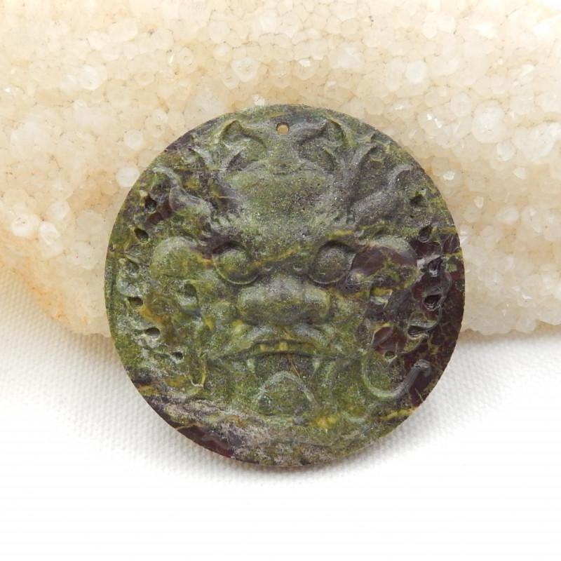 13.5cts carved gemstone pendant ,lion pendant ,natural dragon blood gemston