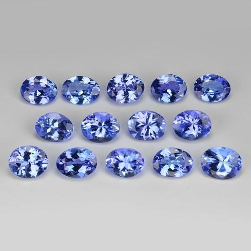 5.18 Cts 14pcs Oval 5x4 mm Violet Blue Color Natural Tanzanite Gemstone