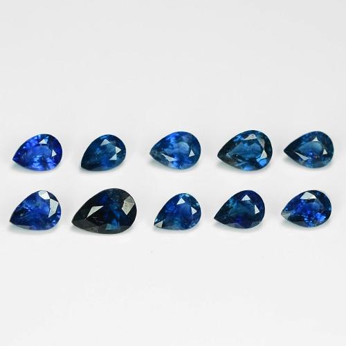 2.02 Cts 10 pcs Pear Shape 4x3 mm Vivid Blue Color Natural Sapphire Gemston