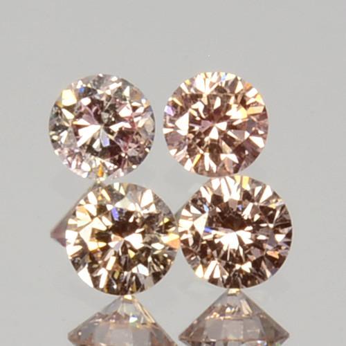 ~UNTREATED~ 0.16 Cts Natural Peach Diamond 2mm Round Cut 4Pcs SET Africa