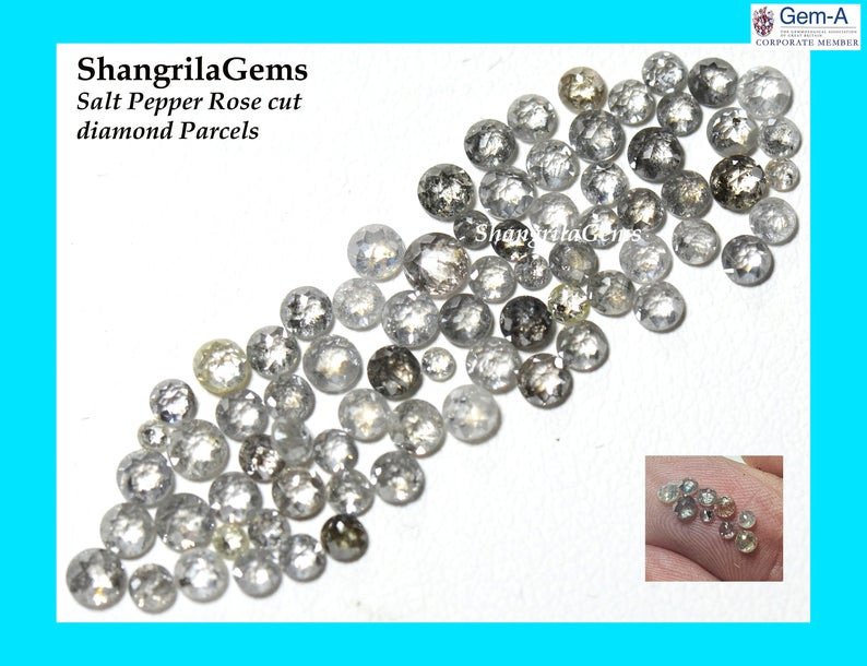 0.5ct parcel 2mm to 3mm Salt Pepper Diamonds Rose cut mixed sizes from 2 to