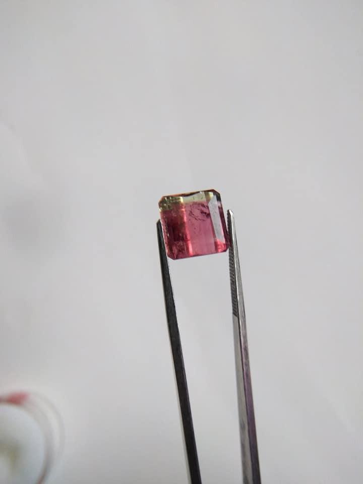 6.95 carat, Square Emerald Bicolored Tourmaline