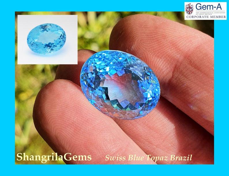 19mm 29ct SWISS BLUE Topaz oval gemstone