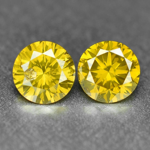 0.40 Cts 2pcs Pair Sparkling Rare Fancy Vivid Yellow Color Natural Loose Di