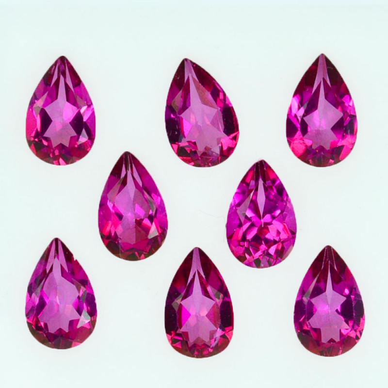 7.90 Cts Candy Pink Natural Topaz 8x5mm Pear Cut 8 Pcs Brazil