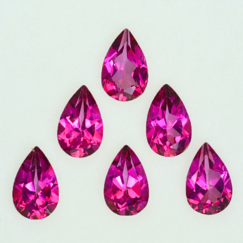 6.29 Cts Candy Pink Natural Topaz 8x5mm Pear Cut 6 Pcs Brazil