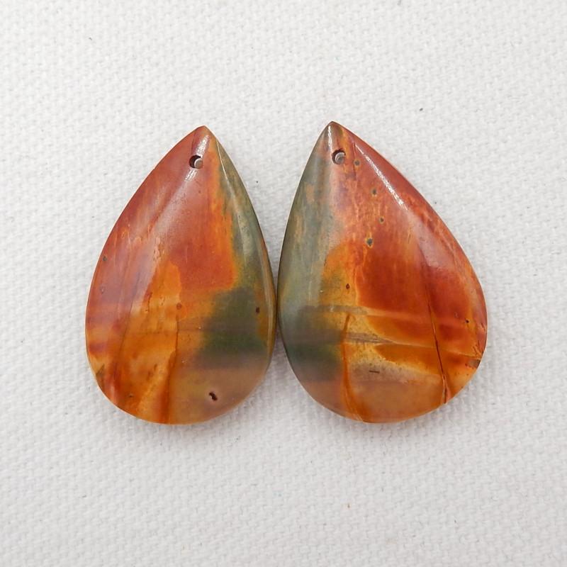 52.5cts multi color jasper, clear quartz intarsia earrings G534
