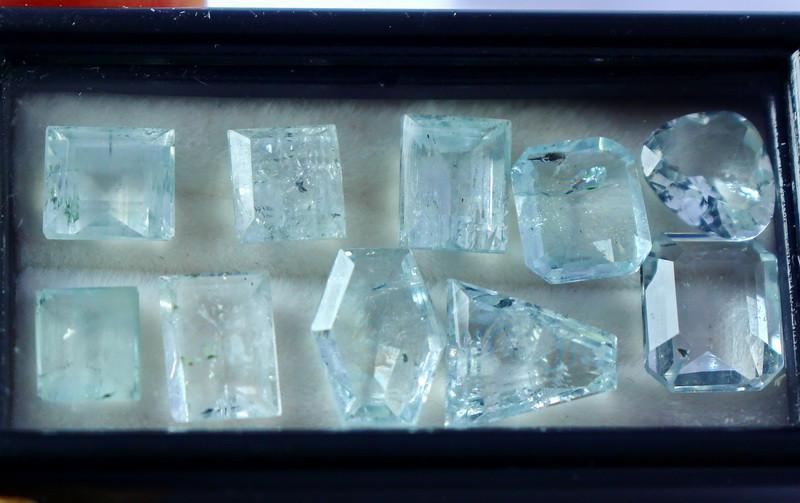 14.85 CT Natural - Unheated Blue Aquamarine Gemstone Lot