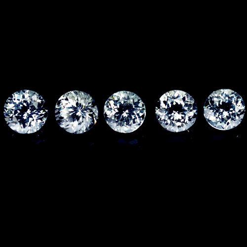~UNHEATED~ 5.32 Cts Natural Sparkling White Topaz 5Pcs Round Cut Brazil