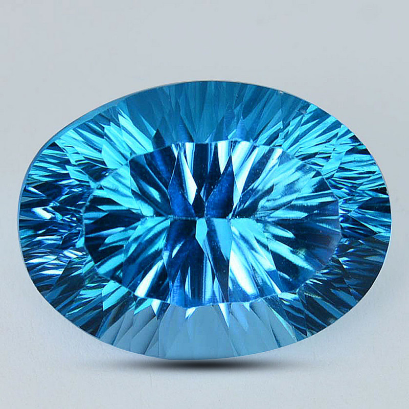 ~PERFECT~ 24.36 Cts Natural Baby Blue Topaz 20 X 15mm Oval Concave Cut Braz