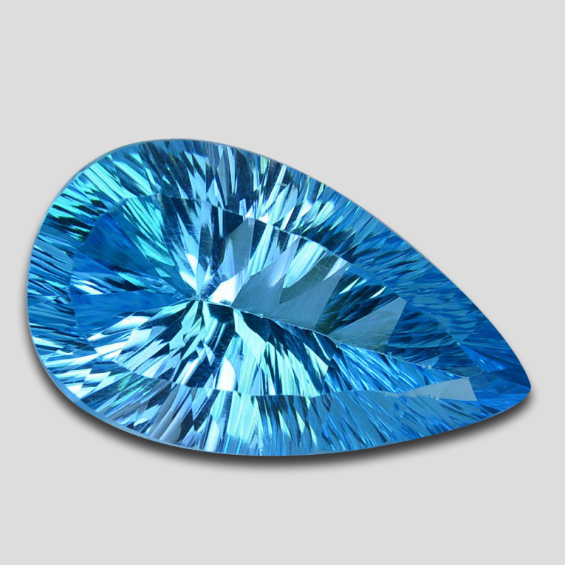 ~MARVELOUS~ 20.55 Cts Natural Baby Blue Topaz  24 X 14mm Pear Concave Cut B