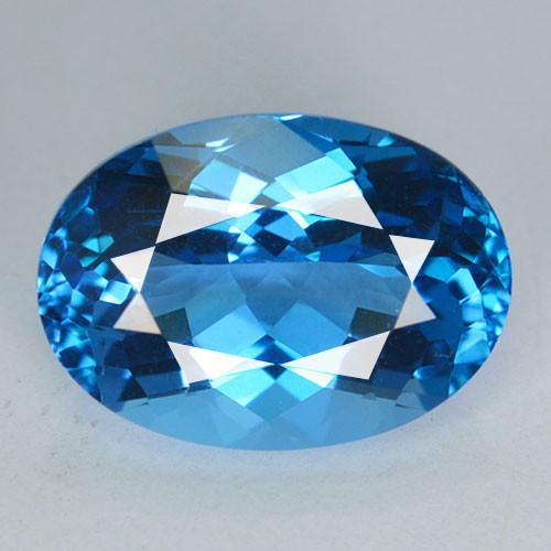 ~SUPREME ~ 7.84 Cts Natural Swiss Blue Topaz 14 X 10mm Oval Cut Brazil