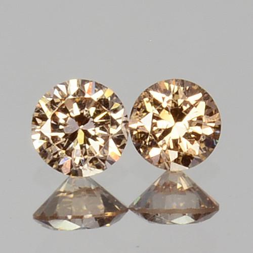 ~UNTREATED~ 0.07 Cts Natural Peach Diamond 2mm Round Cut 2Pcs Africa